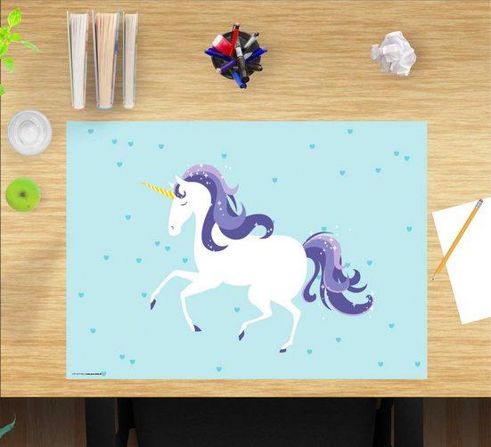 cover-your-desk.de Schreibtischaufsatz »Schreibtischunterlage für Kinder – Einhorn – 60 x 40 cm – aus hochwertigem Vinyl«, (1-St)