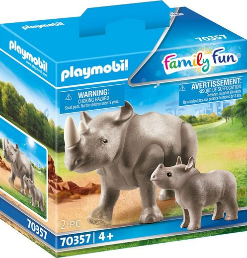Playmobil® Konstruktions-Spielset »Nashorn mit Baby (70357), Family Fun«, Made in Europe