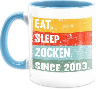 Shirtracer Tasse »Eat Sleep Zocken Since 2003 18 Geburtstag - Tasse Geburtstag - Tasse zweifarbig«, Keramik