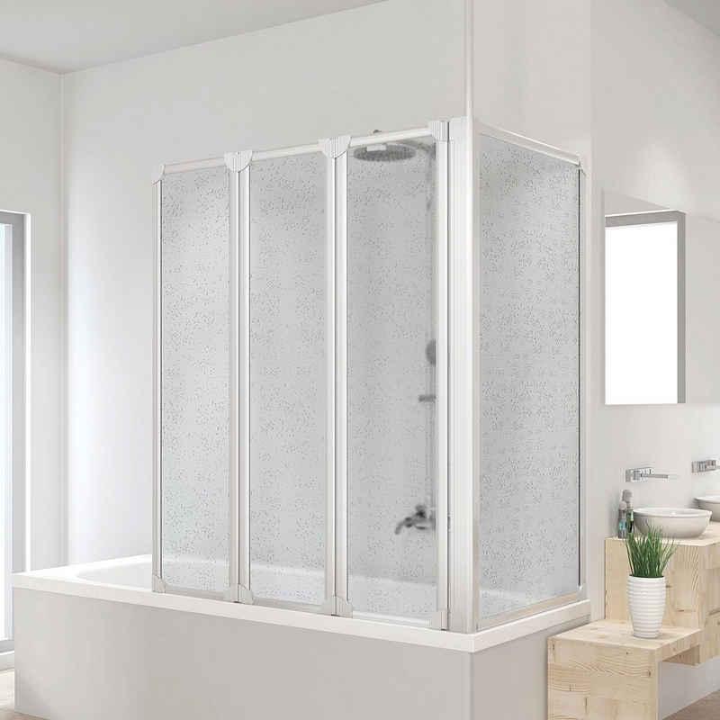 Schulte Badewannenaufsatz, Kunststoff, (3 tlg), BxHxT: 128,8x140x75 cm, mit Teleskopstange und Seitenwand