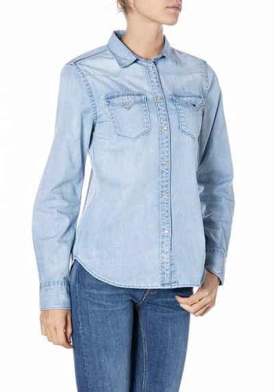 Replay Hemdbluse klassisches Jeanshemd mit aufgesetzten Taschen