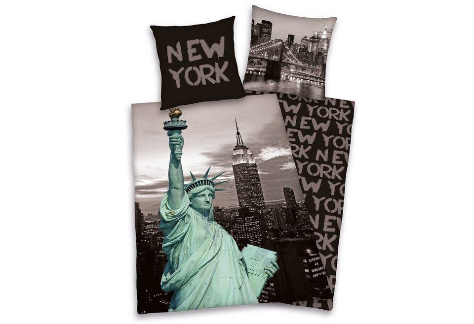 Bettwäsche, Young Collection, »New York«, mit Schriftzügen in grau