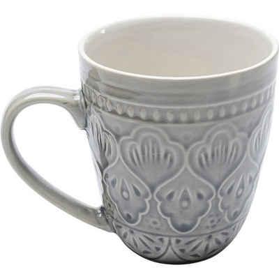 KARE Tasse »Tasse Sicilia Mandala Grau«, Stein u. Keramik