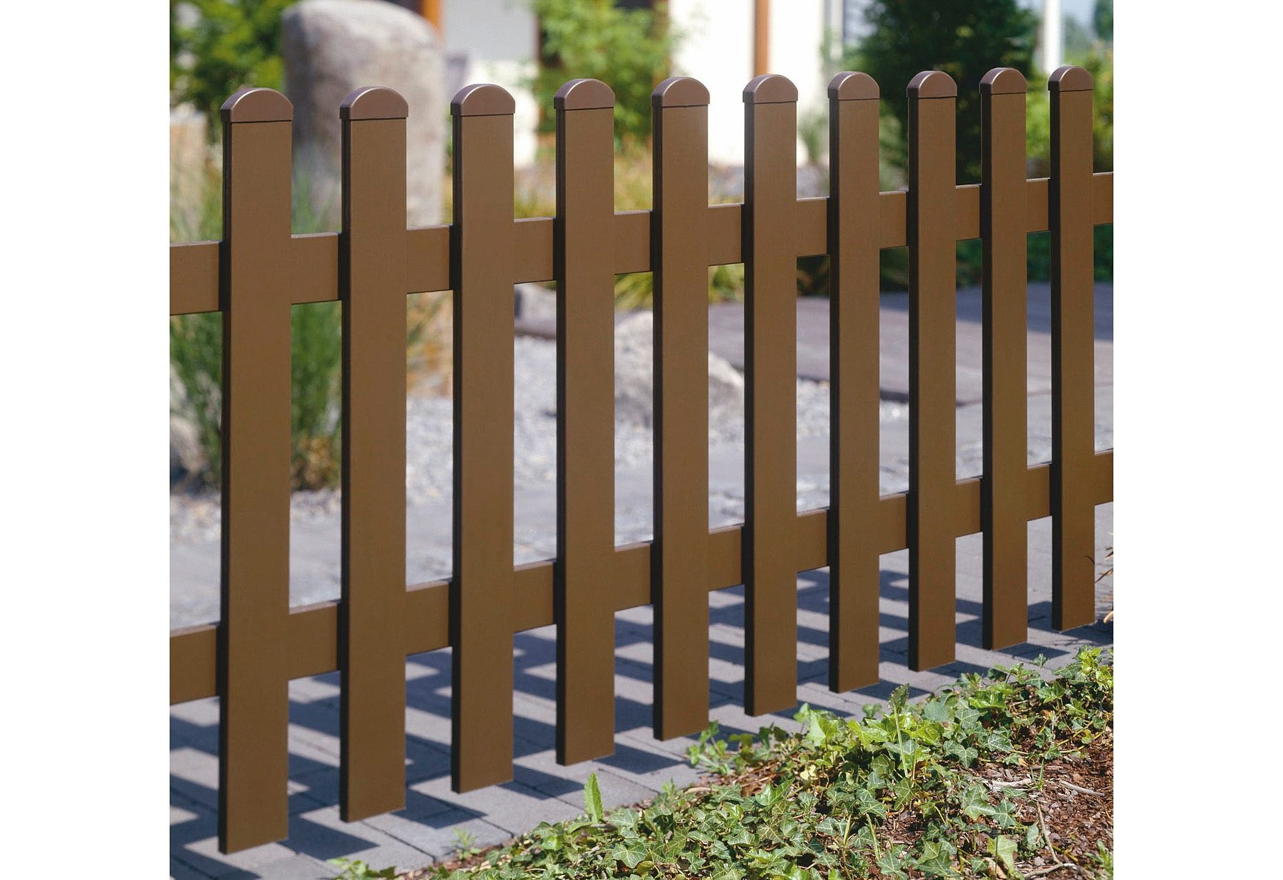 Zaun-Doppeltür gerade »328 x 80 cm dunkelbraun«