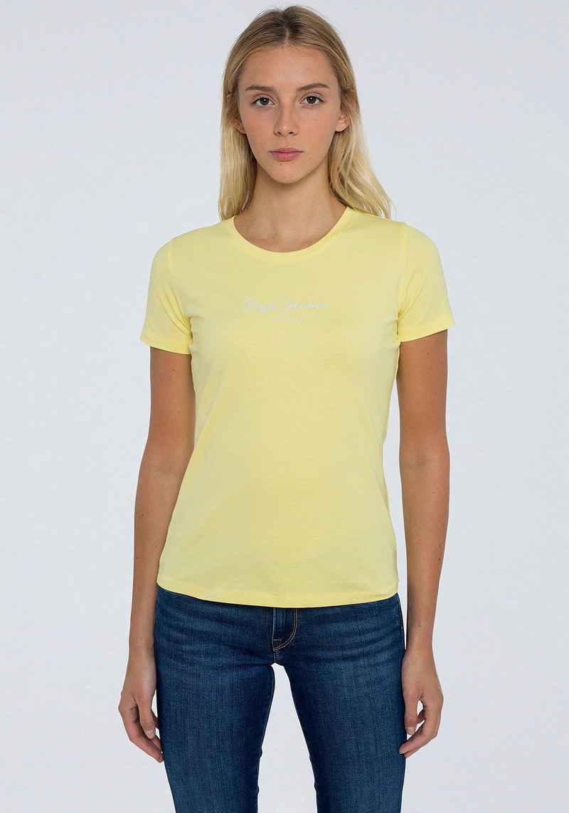 Pepe Jeans Kurzarmshirt »NEW VIRGINIA« im klassicher Basic Form mit kleinem Marken-Logo-Print