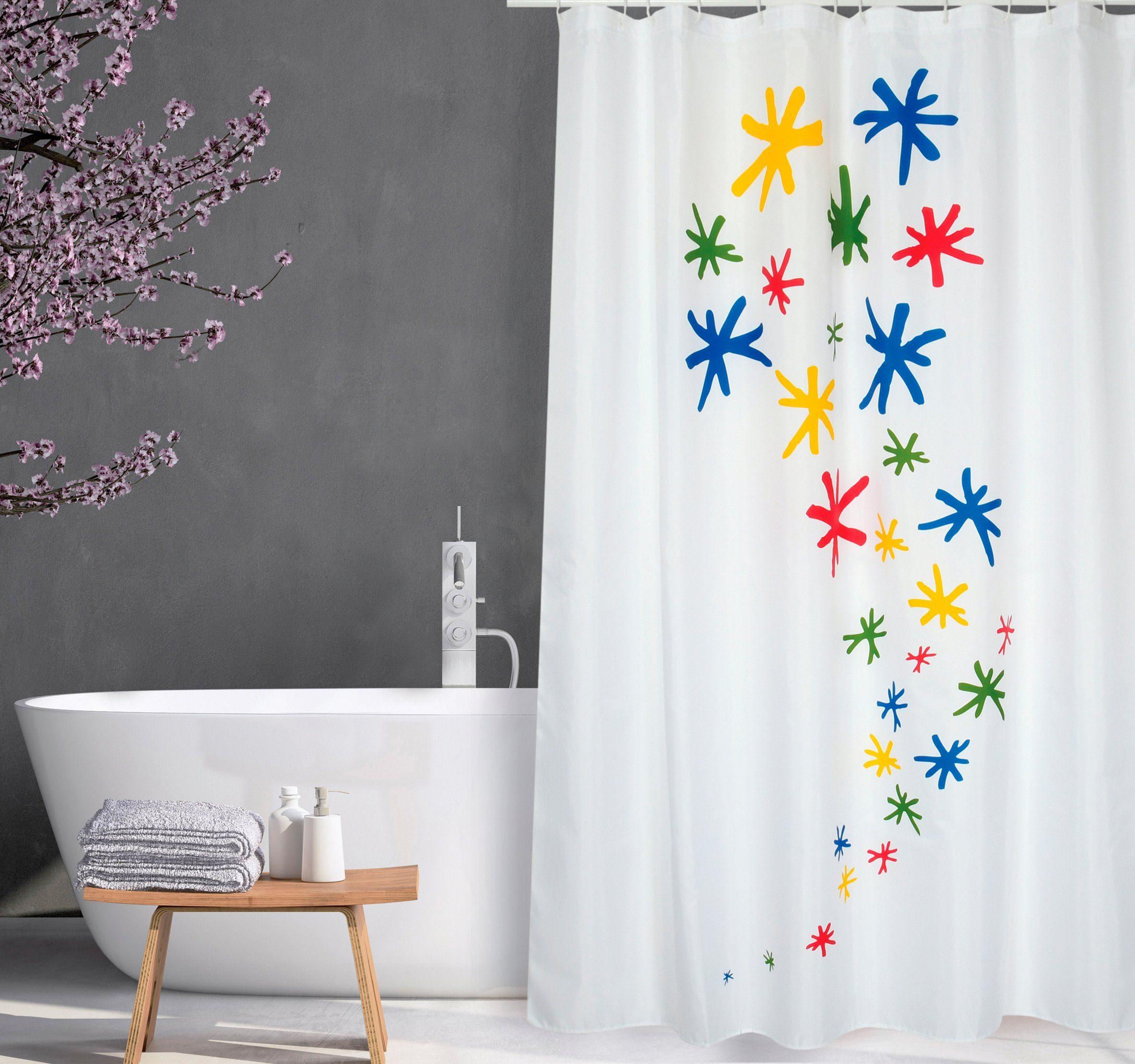 Multicolor 180x200 cm Kleine Wolke Rosalie Duschvorhang 100/% Polyester