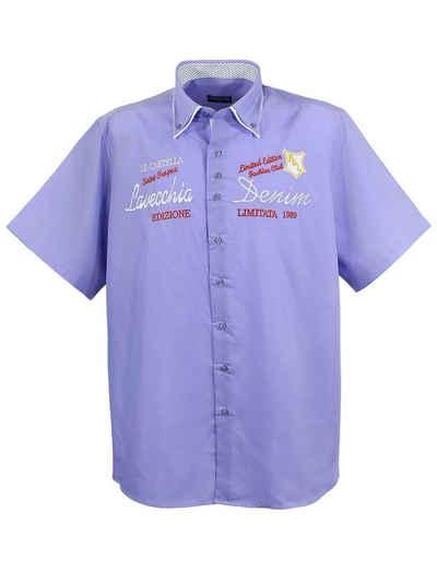 Lavecchia Kurzarmhemd »Übergrößen Herren Hemd 211« Knopfleiste mit farblich abgesetzten Details