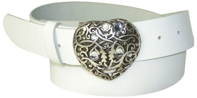 FRONHOFER Koppelgürtel »18354« Damengürtel Herz 4 cm Strass Herzschnalle, Herz Gürtelschnalle silber | Accessoires > Gürtel > Koppelgürtel | FRONHOFER