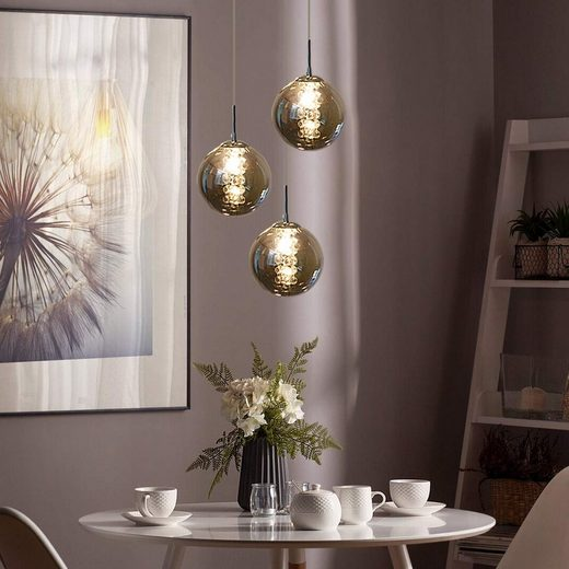 ZMH LED Pendelleuchte »Pendelleuchte esstisch Pendellampe Höhenverstellbar Kronleuchter Hängeleuchte 3-Flammig aus Glas Küchen Wohnzimmerlampe Schlafzimmerlampe Flurlampe [Energieklasse A++]«