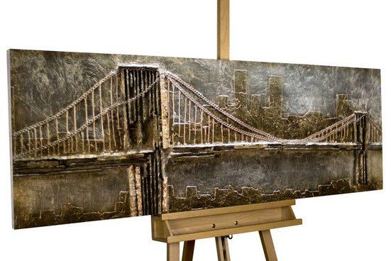 KUNSTLOFT Holzbild »Le Pont d'Or«, handgefertiges Wandbild aus Holz