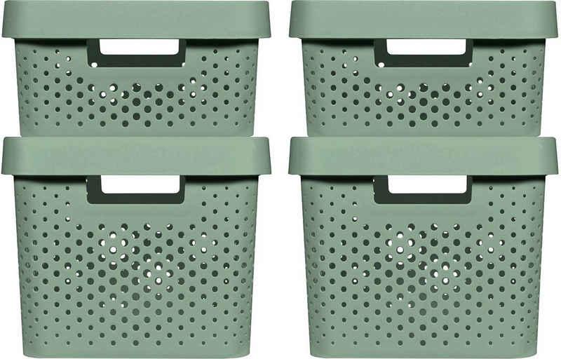 Curver Aufbewahrungsbox »INFINITY RECYCLING« (4 Stück), mit Lochmuster 2x (11L+17L) und Deckel