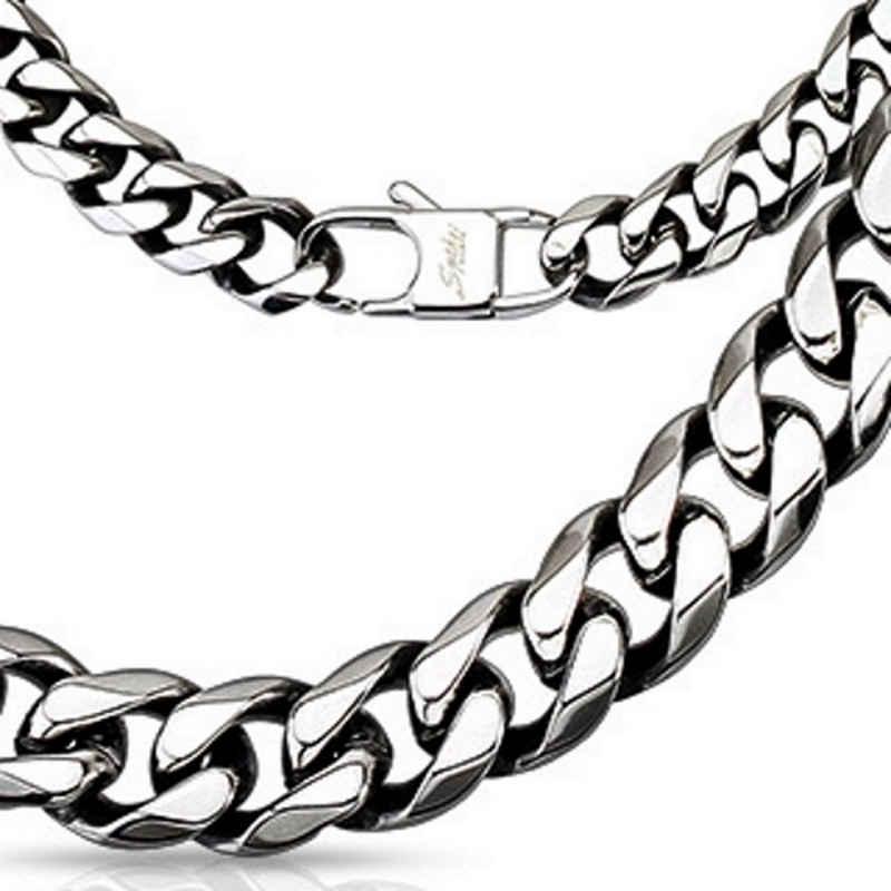 BUNGSA Königskette »Königskette massiv 10mm breit Silber aus Edelstahl« (inkl. Schmuckbeutel aus Organza), Halskette Necklace