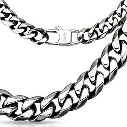 BUNGSA Königskette »Königskette massiv 10mm breit Silber aus Edelstahl« (inkl. Schmuckbeutel aus Organza), Halskette Necklace Damen Herren Mädchen