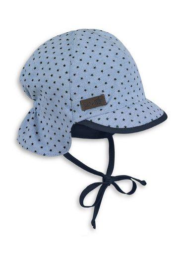 Sterntaler® Schirmmütze »Schirmmütze mit Nackenschutz« (1-St) mit Nackenschutz, angeschnittenen Ohrenklappen und Bindeband; gefüttert mit Batist