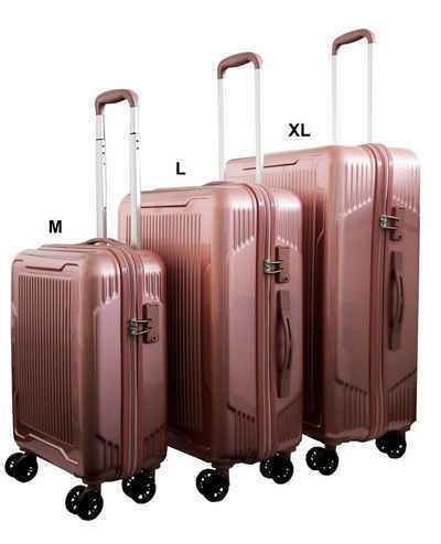 Lüllmann Hartschalen-Trolley »SET mit 3 Reisekoffer Trolley Hartschale Reise Koffer Handgepäck 4 Doppelrollen TSA-Schloss (M+L+XL)«, 4 Rollen, (Spar-Set, 3 tlg., Koffer Set 3-teilig), TSA-Zahlenschloss integriert mit 3 Ziffern / 1x Handgepäck Trolley & 2x Aufgabekoffer in L und XL