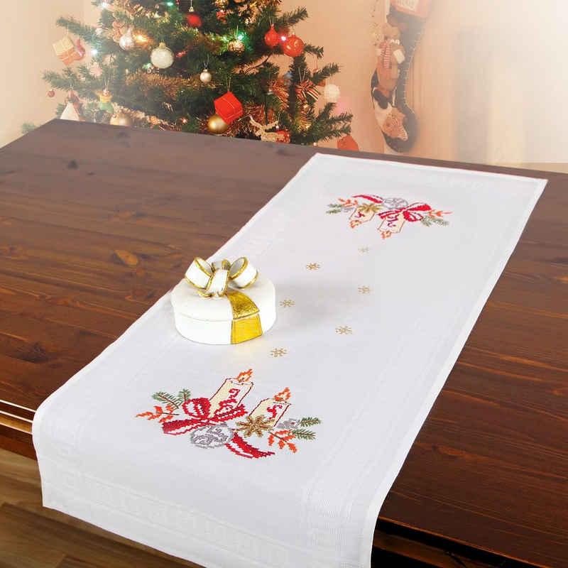 Delindo Lifestyle Kreativset »Handarbeits-Stickpackung - Tischläufer - Sticken im Kreuzstich- Weihnachts-Motive«, Kreuzstich