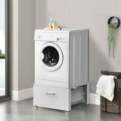 en.casa Unterschrank »Comfrotixx« Waschmaschinen-Untergestell Trockner Sockel mit Schublade Weiß