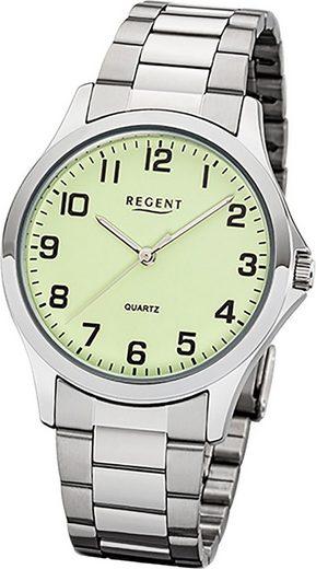 Regent Quarzuhr »D2UR1152405 Regent Metall Herren Uhr 1152405«, (Quarzuhr), Herrenuhr mit Metallarmband, rundes Gehäuse, mittel (ca. 39mm), Elegant-Style