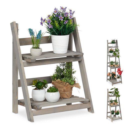 relaxdays Blumenständer »Blumentreppe Holz grau«