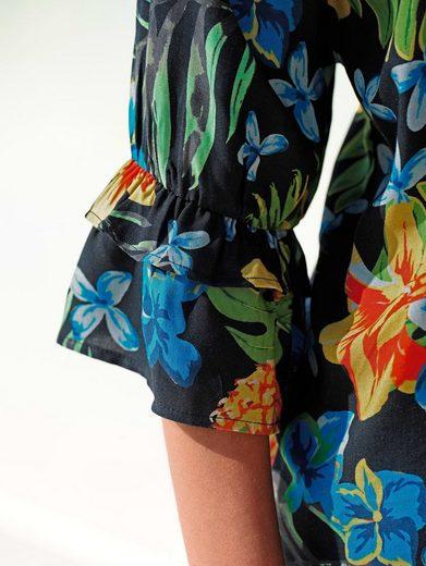 Alba Moda Strandbluse mit tropischem Druck