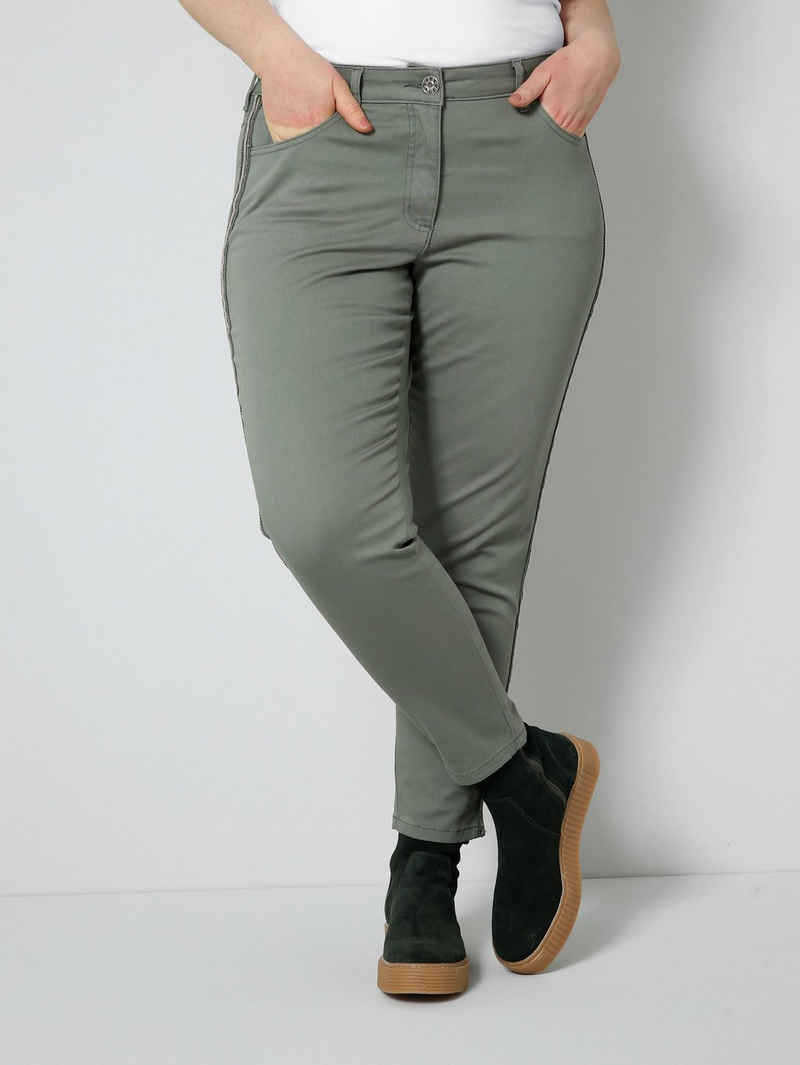 Sara Lindholm 5-Pocket-Hose (1-tlg) mit Stickerei, Dekosteinchen und Pailletten