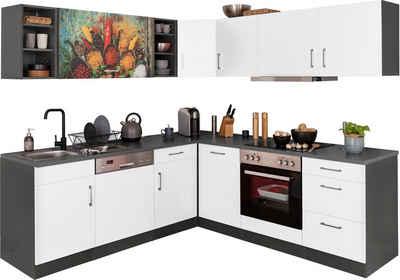 HELD MÖBEL Winkelküche »Paris«, mit E-Geräten, Stellbreite 220/220 cm