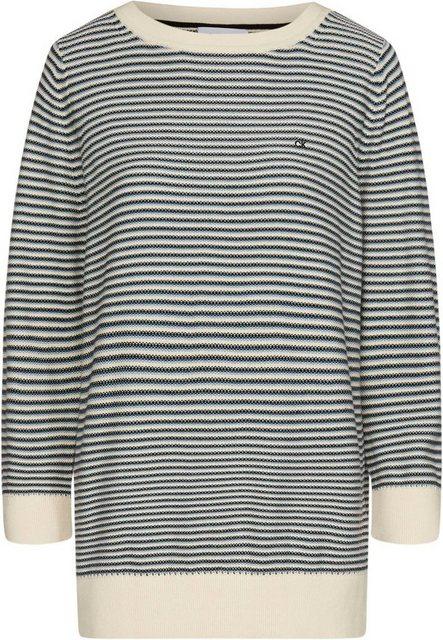 Calvin Klein 3/4 Arm-Pullover »3/4 PIQUE STRIPE SWEATER« im schmalen Ringelstreifen & CK Logo-Stickerei   Bekleidung > Pullover > 3/4 Arm-Pullover   Calvin Klein