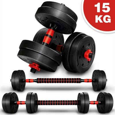 RE:SPORT Hantel-Set, 15 kg, RE:SPORT 2 in 1 Hanteln Set 15 kg, Hantelset verstellbar, Kurzhantel & Langhantel, Sternverschlüsse & Verbindungsrohr