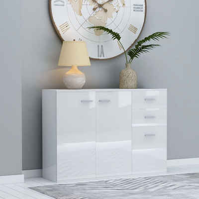 vidaXL Sideboard »vidaXL Sideboard Hochglanz-Weiß 105x30x75 cm Spanplatte«