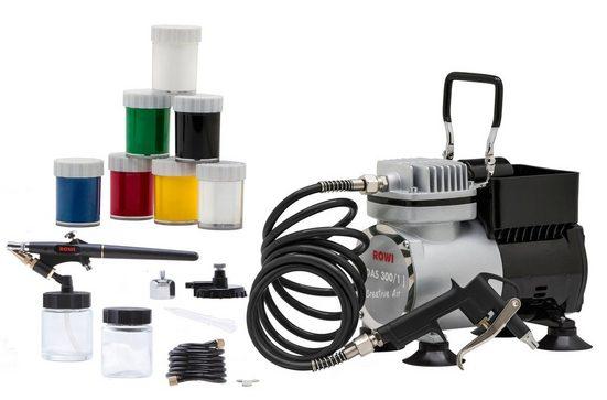 ROWI Airbrush-Kompressor »DAS 300/1 Set Creative«, 19-tlg. Set, 3,2 bar