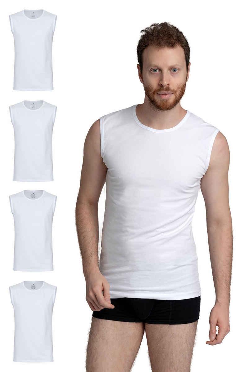 Burnell & Son Unterhemd »Ärmellos Tank Top Achselshirt mit Rundhals Ausschnitt für Herren« (4 Stück), Feinripp, extra lang