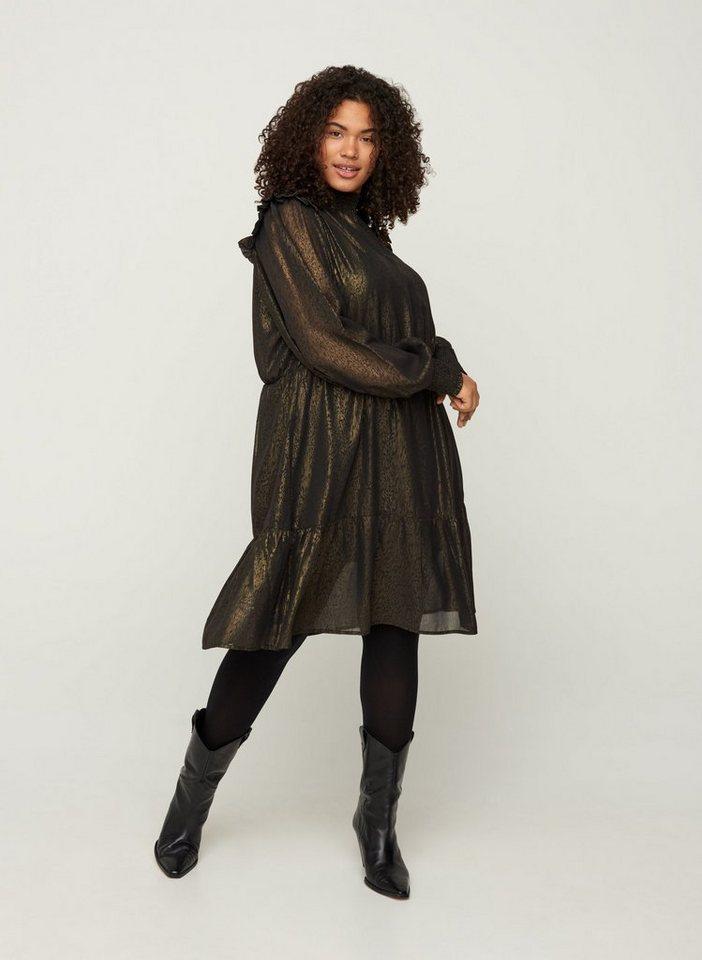 Festtagsmode - ZAY Abendkleid Große Größen Damen Langarm Kleid mit Muster und Smock ›  - Onlineshop OTTO