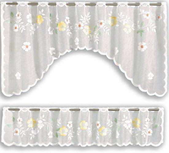 Scheibengardine »Bistrogardinen Set Scheibengardine Küchengardine 2340 Bistrobogen Gardinenkuvert 30, 70 x 150 cm Weiß Bunt«, EXPERIENCE, Stangendurchzug (2 Stück), Set