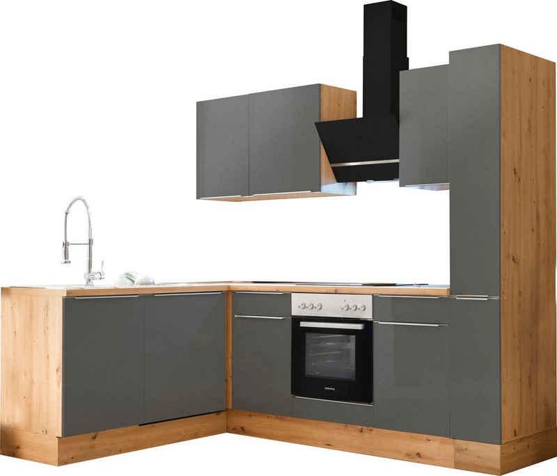 RESPEKTA Winkelküche »Safado«, mit 2 E-Geräte-Sets zur Auswahl, hochwertige Ausstattung wie Soft Close Funktion, schnelle Lieferzeit, Stellbreite 250 x 172 cm