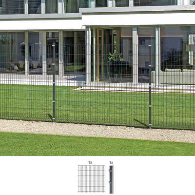 GAH Alberts Doppelstabmattenzaun, (Set), Anbauset 160 cm hoch, 1 Matte 2 m, 1 Pfosten