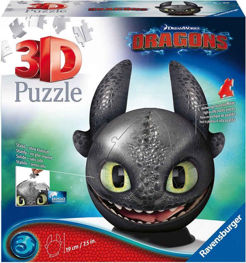 Ravensburger Puzzleball »Dragons 3 - Ohnezahn mit Ohren«, 72 Puzzleteile, Made in Europe, FSC® - schützt Wald - weltweit