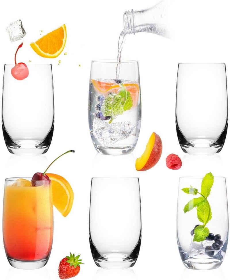 PLATINUX Glas »Trinkgläser«, Glas, 280ml (max. 370ml) Set 6 Teilig Wassergläser Saftgläser Longdrinkgläser