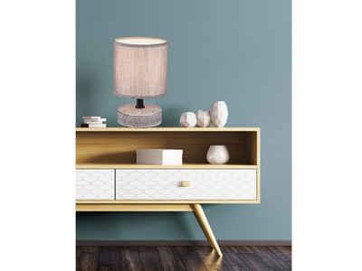 TRIO LED Tischleuchte, mini Keramik Tisch-Lampe mit Stoff-Lampen-Schirm klein Vintage für Wohnzimmer, Fensterbank, Schlafzimmer, Schreibtisch