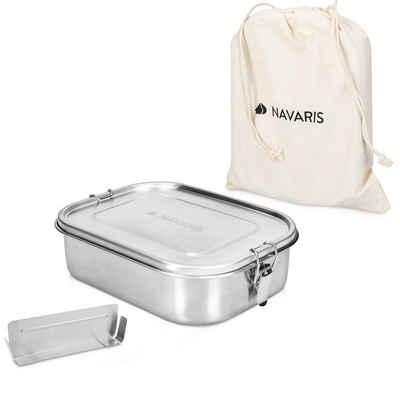 Navaris Lunchbox, Edelstahl, (1-tlg), Brotdose Brotbox aus Edelstahl 1400 ml - Vesperdose Box Metall Behälter - auslaufsicher kunststofffrei - spülmaschinenfest