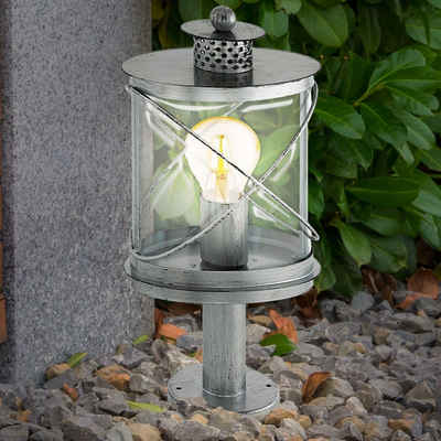 EGLO Sockelleuchten, Außen Steh Lampe silber antik VINTAGE Garten Beleuchtung Hof Wege Sockel Stand Leuchte Eglo 94867