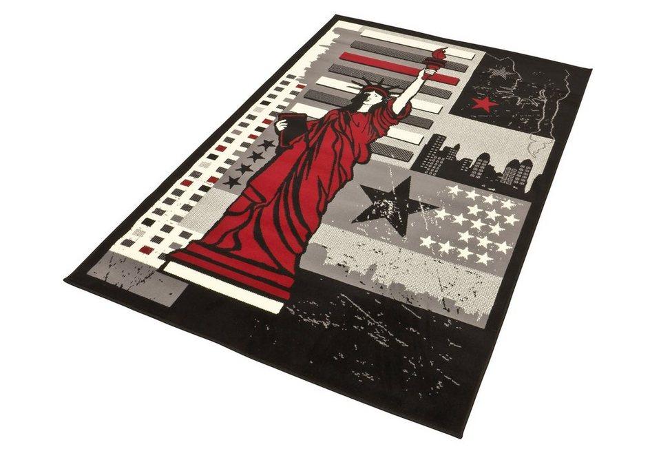 Designteppich »NY Freiheit - Freiheitsstatue«, Hanse Home, rechteckig, Höhe 9 mm, mit Freiheitsstatuen Motiv in rot