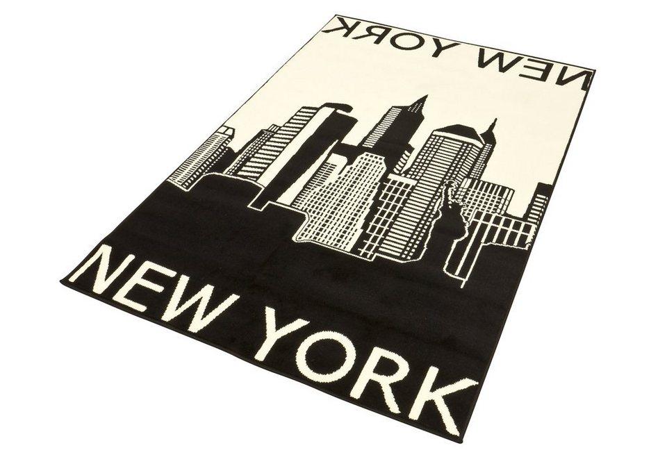Designteppich »New York«, Hanse Home, rechteckig, Höhe 9 mm, New York Skyline Motiv in schwarz-grau