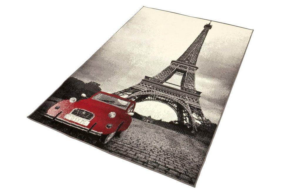 Design-Teppich, Hanse Home, »Eifelturm2 - rotes Auto«, gewebt, modern, Motiv-Druck in schwarz rot