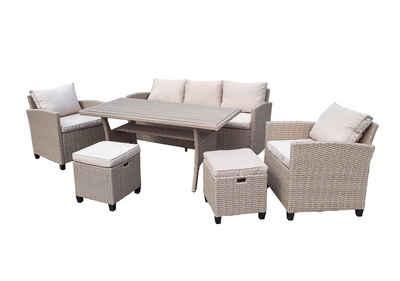 bellavista - Home&Garden® Loungeset »Rattan Dining-Lounge Set Madeira II von bellavista«, (Set, 6-tlg), 3-Sitzer Sofa: 175x67x73cm (BxTxH), Sessel: 67x66x73cm (BxTxH), Tisch: 145x75x67cm (BxTxH), Hocker: 40x39x40cm (BxTxH)
