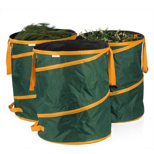 PRIMA GARDEN Gartenbox (3er Set in grün, 3 Stück), Gartenabfallsack 160 L