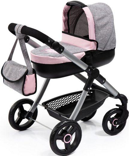 Bayer Puppenwagen »Style, grau/rosa«, mit Wickeltasche
