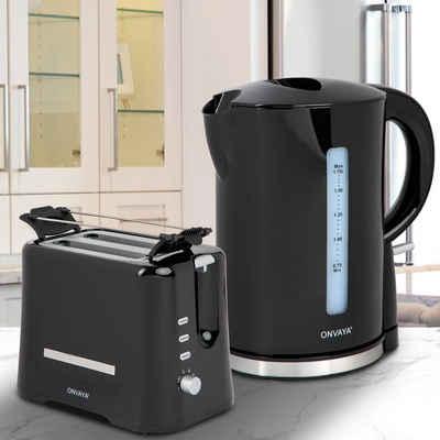 ONVAYA Frühstücks-Set »ONVAYA® Frühstücksset, Toaster Wasserkocher Set, Frühstücksserie, Schwarz, Toaster für 2 Scheiben, Wasserkocher 1,7 Liter (Frühstücksset 2-teilig«