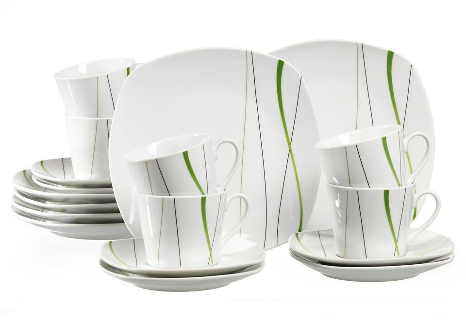 Porzellanserie »GRACE« in weiß, mit grünem Liniendekor
