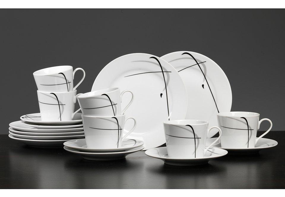 Porzellanserie »NAOMI« in weiß, mit schwarz-grauem Liniendekor