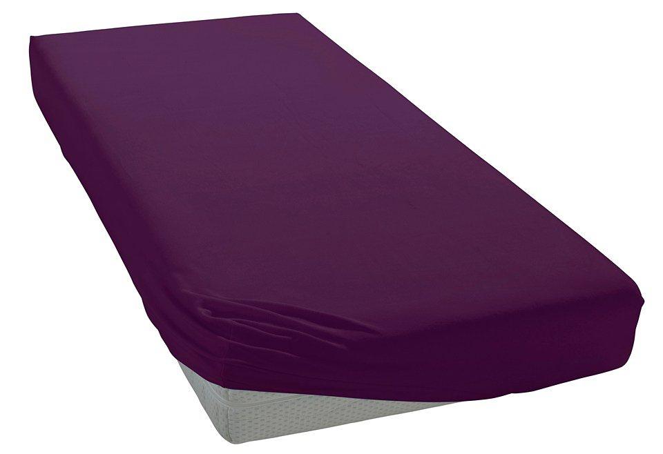 Spannbettlaken, Bellana, »Mako-Jersey«, geeignet für hohe Matratzen in violett